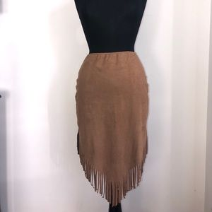 Dresses & Skirts - Faux Suede Skirt with Fringe